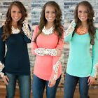 Sexy Womens Summer Lace Sleeve T Shirt Crew Tops Fashion Ladies Shirt Blouse
