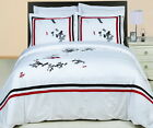 3 Piece MODERN HOTEL White Red BLACK EMBROIDERED Cotton BEDDING Duvet Cover Set
