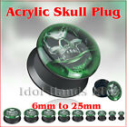 6mm to 25mm Green Skull Screw Back Acrylic Plug / Tunnel.