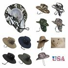 Western Cowboy Bucket Hat Wide Brim Neck Sun Cover Cap Visor Hiking Camping Hunt