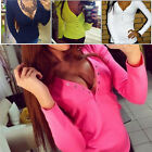 Women's Ladies Spring Summer Sexy Button V-Neck Long Sleeve T-Shirts Tops Blouse