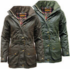 Womens Game Cantrell Antique Waxed Cotton Padded Wax Jacket Coat With Waist Belt