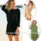 Autumn Fall Winter Women Knitted Wool Casual Evening Cocktail Party Mini Dress