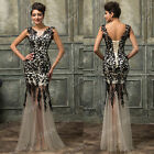Ladies Black Lace Long Maxi GRAD Gown Formal Party Bridesmaid Evening Prom Dress