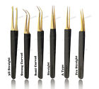 Alluring Eyelash Extensions Black with Gold Tip Tweezers