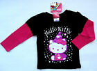 NWT: New Hello Kitty Black & Pink Sparkle Long Sleeve Layer Shirt, 2T, 3T, or 4T