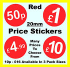Retailers / Shop 20mm Red Price Point Stickers / Sticky Labels £1, £2, £5