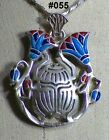 Hall marked Egyptian Pharaonic Silver Pendant,Scarab,Lotu,Eye of Horus,Nefertiti