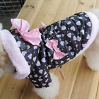 NEW Winter Coat Cute Pink Butterfly Tie Dog warm clothes dog apparel SIZE 2-6 US