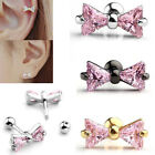 1p 16G Bow CZ Gem Steel Barbell Ear Tragus Cartilage Helix Stud Earring Piercing