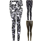 Womens Skull Rose Print Grunge Metallic Stretch Fashion Party Fitted Leggings