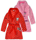 Girls Pink Red Disney Minnie Mouse Dressing Gown Kids Fleece Spot Robe 3-8 Years