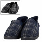 Mens All Over Check Full Slipper with Non Slip Tread Hard Soles With Warm Lining