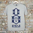 REBEL8 R8 Logo TEE  Casual T-Shirt New -Heather grey - Size:S,L.