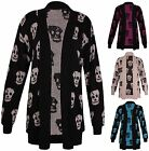 Womens Plus Size Skull Printed Ladies Long Sleeve Knit Jumper Open Cardigan Top