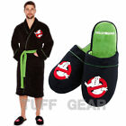 GHOSTBUSTERS NO GHOST FLEECE WARM BATHROBE CLASSIC MENS GOWN ROBE & SLIPPERS SET