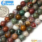 Natural Round Mixed Color Ocean Jasper Beads Jewelry Making Gemstone Beads 15""