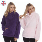 Ladies Womens Snuggle Fleece Bed Jacket Lounge Top House Coat Shawl Collar Neck