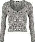 New Womens Long Sleeve Knitted Ribbed Stretch Round Neck T-Shirt Ladies Crop Top