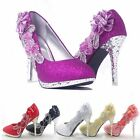 Sparkly Women Wedding Bridal Shoes Royal Evening Party Crystal High Heels Pumps