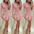 CA Women Sexy Summer Evening Cocktail Party Long Sleeve Floral Mini Dress