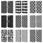 HEAD CASE BLACK AND WHITE PATTERNS LEATHER BOOK CASE FOR APPLE iPHONE PHONES