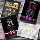 Birthday Invitations, Party Invites, Personalised, 18th 21st 30th 40th, 50th