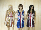 BLUE UNION JACK ENGLAND BLING SEQUINNED LADIES FANCY DRESS COSTUME SIZE 8-12 UK