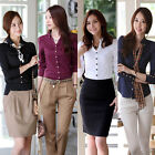 Women OL V-neck Stand Collar Long Sleeve Single Buttons Top Blouse Shirt S-XXL