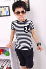 New kids Boy Sailor Summer Outfit shortlseeved top+ shorts size1-6yrs