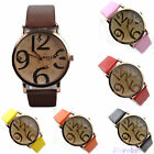 Dial Big Number Watch Ladies Fashion Faux Leather Analog Quartz Wristeatches