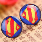 New 925 Stainless Steel Batman Superman Logo Disc Earrings One Pair Choose Style