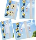 Minions hanging on light switch wall plate covers, kids room decor