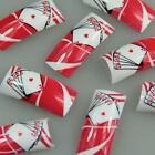 Red White Poker Fashion Design False French Acrylic Nail Tips New