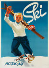 Ski Norway Blond Boy Skis Skiing Alps Winter Sport Vintage Poster Repro FREE S/H