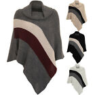 Ladies Asymmetric Knitted Warm Double Stripe Poncho Folded Collar Shawl Cape