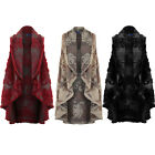 Women's Sleeveless Floral Embossed Faux Fur Trim Warm Wrap Waistcoat Poncho