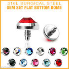SEXY 11 COLOR LOT OF SURGICAL STEEL GEM SET DOME INTERNAL DERMAL TOP PIERCINGS