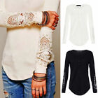 New Girls Womens Long Sleeve Shirt Casual Lace Blouse Loose Cotton Tops T Shirt