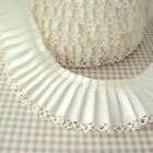 25m ROLL - CREAM - PLAIN PLEATED PICOT LACE EDGE COTTON FABRIC TRIM  RIBBON
