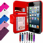 New Flip Leather Wallet Case Cover For APPLE iPHONE 5 5S Free Screen Protector
