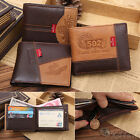 Retro Classic Mens Bifold Brown Leather Soft ID Card Case Money Purse Wallet New
