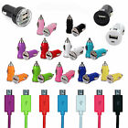 USB Car Adapter Charger & Micro USB Cables For Samsung HTC Nokia LG Sat Nav Sony