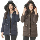 New Womens Ladies Parka Faux Fur Trim Hood Gold Zip Buttons Trench Coat Jacket M