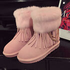 Womens Chains Flat Snow Pull On Metal Tassels Pull On WInter Ankle Boots Shoes