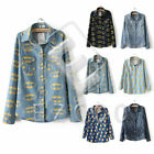 Women Girl Retro Long Sleeve Fabric Blue Jean Denim Shirt Tops Blouse Shirt