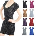 Hotsale Sexy Sequins Double V Cocktail Clubwear Party Stretch Dress 8 Colors
