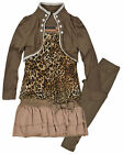 Girls 3 Piece Animal Print Outfit New Kids Legging Top & Cardigan Set 2-12 Years