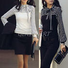 Women Lady Long Lantern Sleeve Bowknot Neck Striped Slim Casual Top Blouse