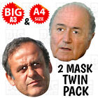 SEPP BLATTER & MICHEL PLATINI Face Mask A3 & A4 FIFA PRESIDENT PREMIER FOOTBALL